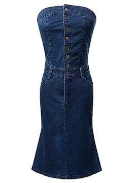 Ericdress Denim Strapless Single Breasted Bodycon Dress