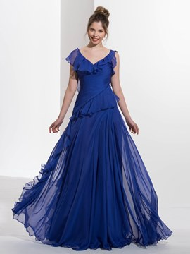 Ericdress A-Line V-Neck Cap Sleeves Ruched Ruffles Brush Prom Dress