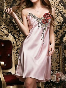 Ericdress Smooth Silk Flower Embroidery Vogue Sexy Babydoll
