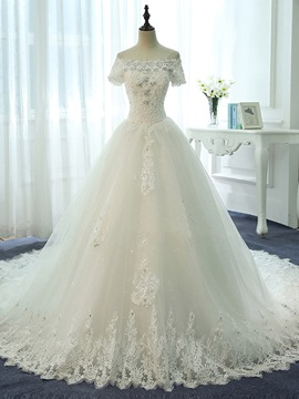 Ericdress Beautiful Beaded Off The Shoulder Lace Ball Gown Wedding Dress