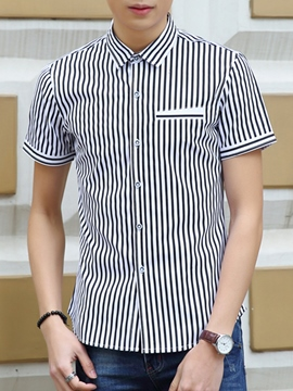 Ericdress Plain Stripe Short Sleeve Men's Shirt