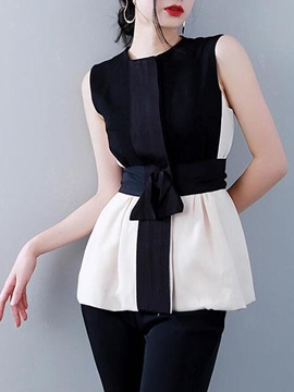 Ericdress Slim Color Block Chiffon Patchwork Blouse
