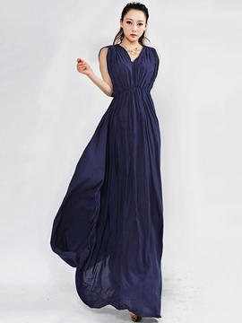 Ericdress Soild Color Pleated Maxi Dress