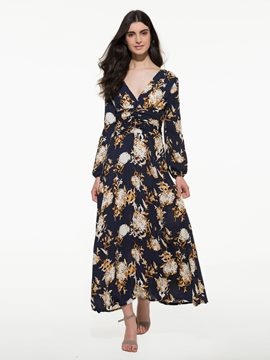 Ericdress Floral Print V-Neck High-Waist Maxi Dress