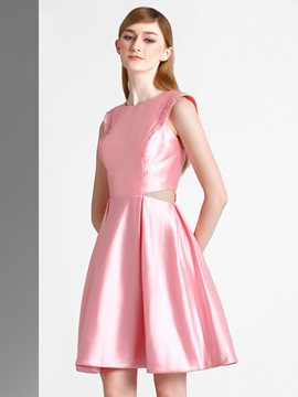 Ericdress A-Line Scoop Beading Knee-Length Homecoming Dress