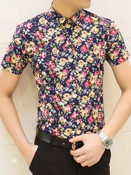 Ericdress Floral Vogue Slim Men's Shirt