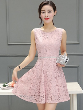 Ericdress Lace Patchwork Sleeveless Casual Dress