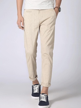 Ericdress Plain Straight Linen Vogue Men's Pants
