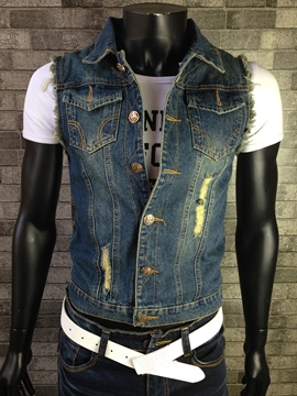 Ericdress Denim Holes Casual Men's Vest