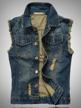 Ericdress Vogue Holes Denim Men's Vest