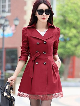 Ericdress Solid Color Slim Lace Patchwork Trench Coat