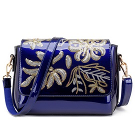 Ericdress Vintage Sequins Patent Leather Crossbody Bag