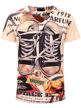 Ericdress Unique Casual Shoes Print Men's T-Shirt