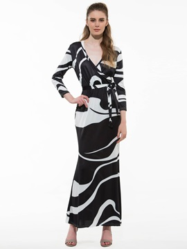 Ericdress Stripe Long Sleeve Maxi Dress