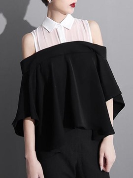 Ericdress Color Block Off-Shoulder Blouse