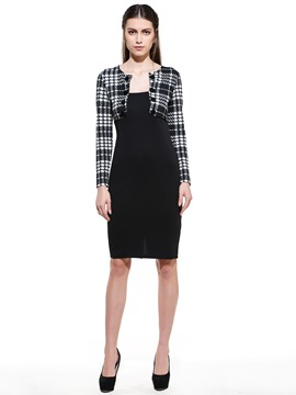 Ericdress Plaid Patchwork Sheath Dress
