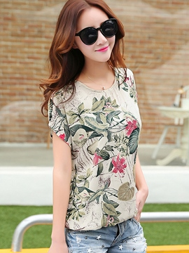 Ericdress Loose Printed Floral Short-Sleeve Blouse