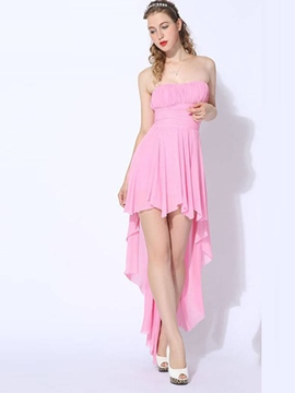 Ericdress A-Line Strapless Pleats Asymmetry Homecoming Dress