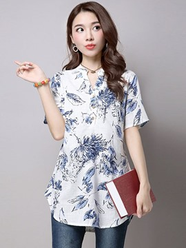 Ericdress Printed Slim Blouse