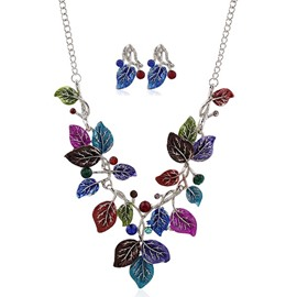 Multicolor Leaves Two-Piece Jewelry Set