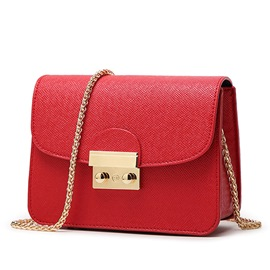 Ericdress Candy Color Lock Crossbody Bag