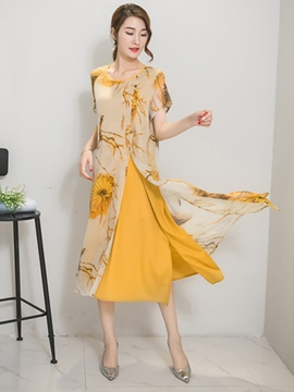 Ericdress Ethic Print Straight Casual Dress