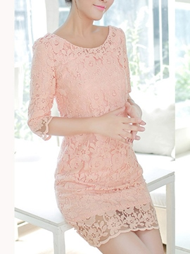 Ericdress Solid Color Round Neck Lace Dress