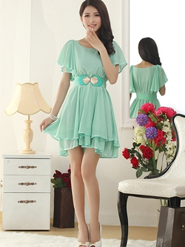 Ericdress Flare Sleeve Falbala Skater Casual Dress