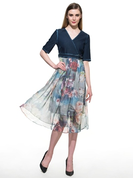 Ericdress Denim Patchwork Floral Print Casual Dress