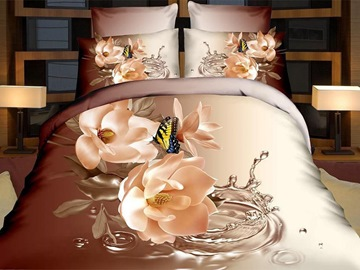 Ericdress Butterfly Resting On Flowers Print 3D Bedding Sets
