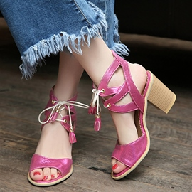 Ericdress Peep-Toe Lace Up Chunky Sandals