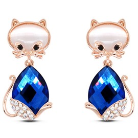 Cute Cat Gem Earrings