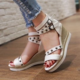 Ericdress Solid Color Rivets Wedge Sandals