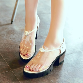 Ericdress Transparent Peep Toe Chunky Sandals