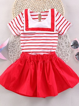 Ericdress Nevy Collar Strips Pleated Girls Outfits