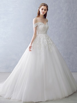 Ericdress Modest Appliques Off The Shoulder Ball Gown Wedding Dress