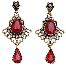 Retro Triangle Ruby Earrings
