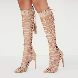 Ericdress Noble Cut Out Back Lace up Knee High Stiletto Sandals