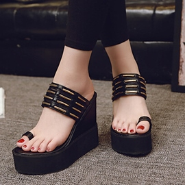 Ericdress Chic PU Toe Ring Wedge Mules Shoes