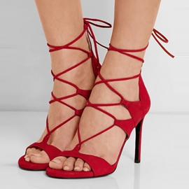 Ericdress Elegant Cut Out Back Lace up Stiletto Sandals
