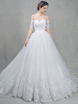 Ericdress Modest Off The Shoulder Half Sleeves Wedding Dress