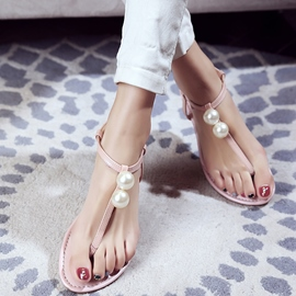 Ericdress Simple Pearl Thong Flat Sandals