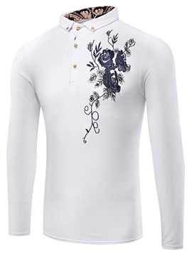 Ericdress Flower Stand Collar Vogue Men's T-Shirt