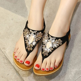 Ericdress Diamond Thong Elastic Band Flat Sandals