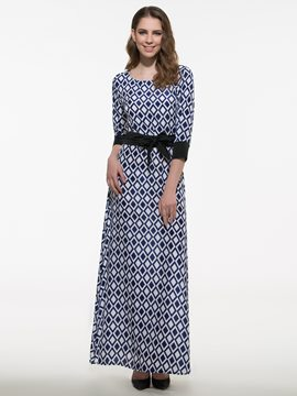 Ericdress Plaid Long Sleeve Maxi Dress