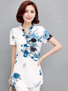 Ericdress Slim Single-Breasted Printed Blouse