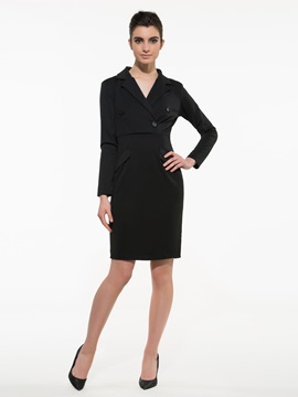 Ericdress Plain Notched Lapel Sheath Dress