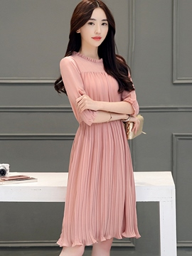 Ericdress Ladylike Pleated Casual Dress