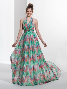 Ericdress A-Line Halter Pleats Print Sweep Train Prom Dress