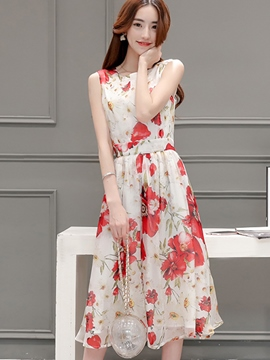 Ericdress Flower Print Sleeveless Casual Dress